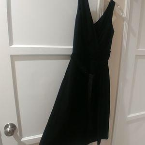 LOFT petite tie waist black dress